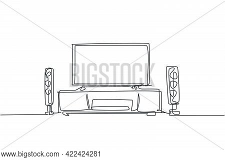 One Continuous Line Drawing Of Home Theater With Stereo Audio System Speaker. Electricity Living Roo