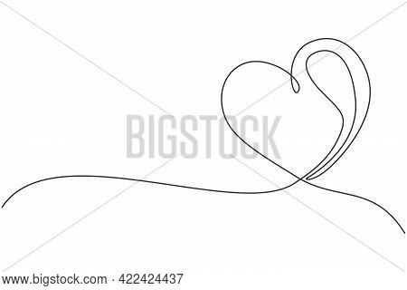 One Single Line Drawing Of Cute Love Heart Shaped For Greeting Card. Romantic Symbol For Wedding Inv