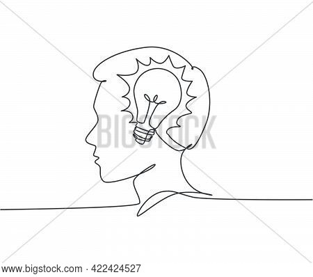One Continuous Line Drawing Of Human Man With Light Bulb Brain Inside The Head Icon Logo Emblem. Inn