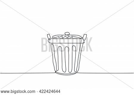 One Continuous Line Drawing Of Metal Recycle Bin Home Appliance. Stainless Steel Dustbin Household T