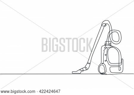 One Single Line Drawing Of Electric Vacuum Cleaner Home Appliance. Electricity Wireless Cleaning Rob