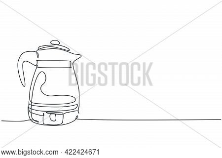 One Single Line Drawing Of Stainless Steel Kettle Teapot Home Appliance. Electricity Household Kitch