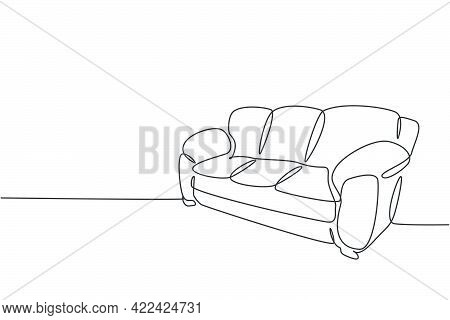 Single Continuous Line Drawing Of .comfy Luxury Leather Couch Household Utensil. Elegance Sofa For L