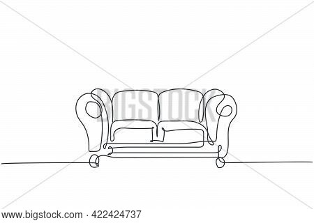 One Single Line Drawing Of Expensive Luxury Leather Sofa Home Appliance. Comfortable Couch For Livin