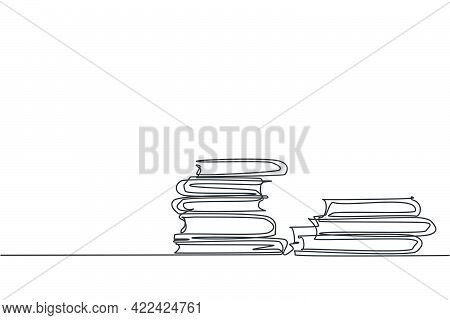 Books Stack. Single Continuous Line Pile Of Books On Desk Library Graphic Icon. Simple One Line Dood