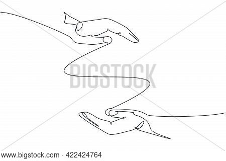 Two Hands Protection Gesture. Single Continuous Line Hand Hold Elements Graphic Icon. Simple One Lin