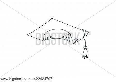 Graduation Cap. Single Continuous Line University Graduation Hat Graphic Icon. Simple One Line Doodl