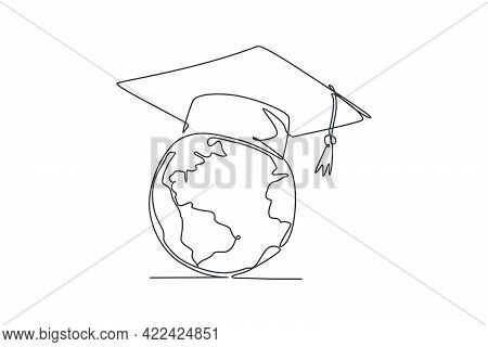 Graduation Hat On Earth Globe. Single Continuous Line World Global Diploma Graphic Icon. One Line Dr
