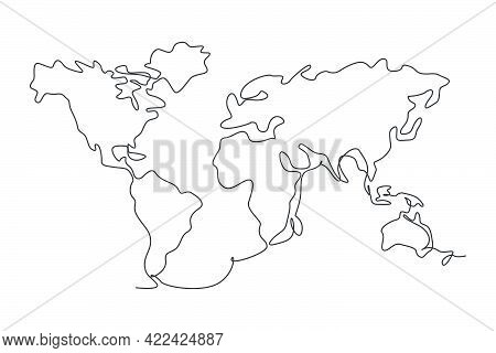 World Map. Continuous One Line Drawing Of World Atlas Minimalist Vector Illustration Design On White