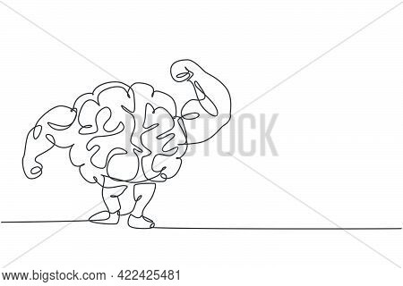 One Continuous Line Drawing Of Strong Muscular Brain Human Shows Muscle Logo Icon. Smart Health For