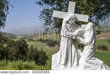 Santa Inez, Ca, Usa - April 3, 2009: San Lorenzo Seminary. Closeup Of Station Of The Cross Number 4