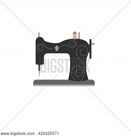 Sewing Machine. Card Template For Use In The Garment Industry, Tailors And Clothing Boutiques. Vecto