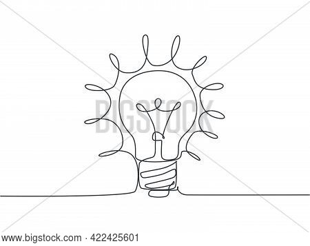 Single Continuous Line Drawing Of Bright Shinging Lightbulb For Logo Label. Power Electricity Logoty