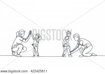 One Continuous Line Drawing Of Young Mom Giving High Five To Daughter And Father Tying His Son Shoel