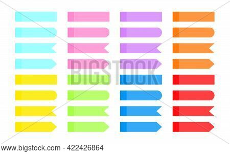 Set Of Note Sticker. Colorful Overlapping Transparent Sticky Ribbon Index. Arrow Flag Tabs, Differen