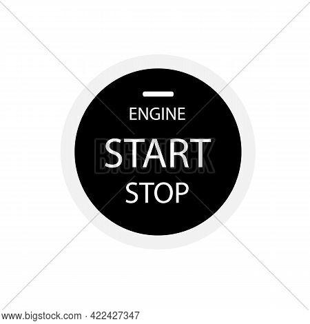 Engine Start Stop Button On White Background. Start Engine Button.