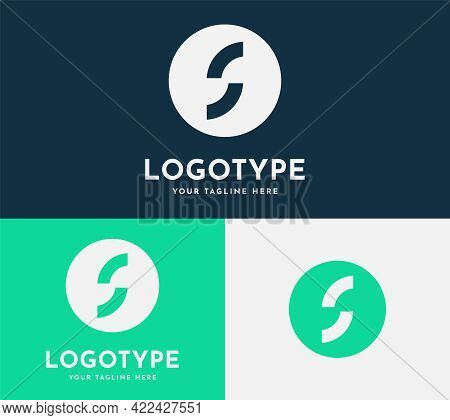 Letter S Modern Icon With A Circle Round Logo In Blue, Green Colors. Elegant Geometrical Letter Logo