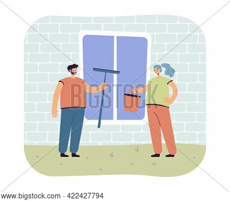 Married Couple Cleaning Window Together. Husband Holding Mop, Wife With Bucket Flat Vector Illustrat