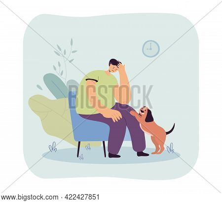 Cute Dog Comforting Sad Owner. Upset Male Character Sitting On Chair, Pet Asking For Attention Flat
