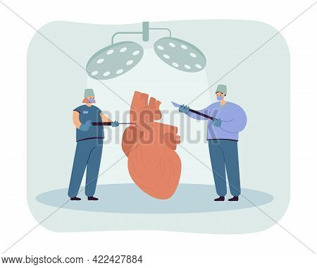 Cardiologists Examining Heart. Tiny Cartoon Surgeons With Medical Tools Flat Vector Illustration. Ca