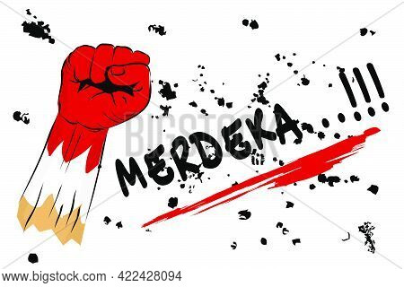 Vector Template Background Or Banner, Freedom Or Merdeka In Indonesia Language, With Fisting Hand .