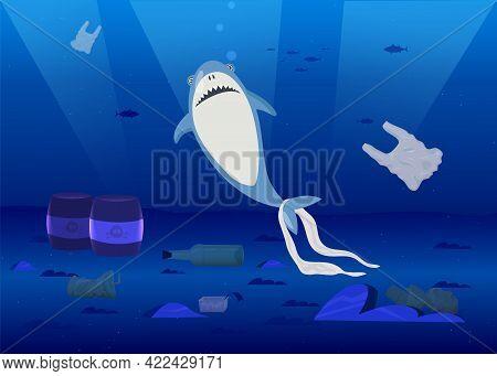 Shark In Ocean With Plastic Trash Flat Vector Illustration. Cartoon Marine Animal Surrounded By Plas