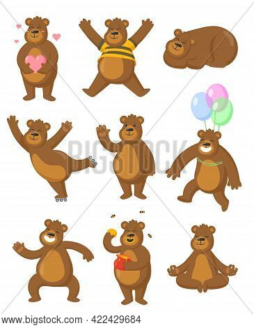 Brown Bears Illustrations Set In Cartoon Style. Funny Bears Sitting, Smiling, Meditating, Jumping. F