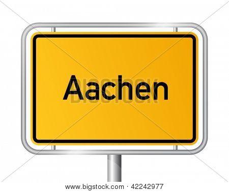 City limit sign Aachen against white background - signage - North Rhine Westphalia, Nordrhein Westfalen, Germany