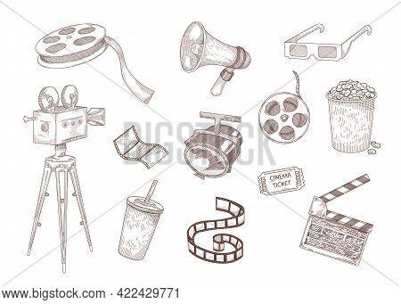 Cinema Elements Engraved Illustrations Set. Hand Drawn Sketch Of Popcorn, Tape, Camera, Ticket, Clap