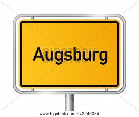 City limit sign Augsburg against white background - signage - Bavaria, Bayern, Germany