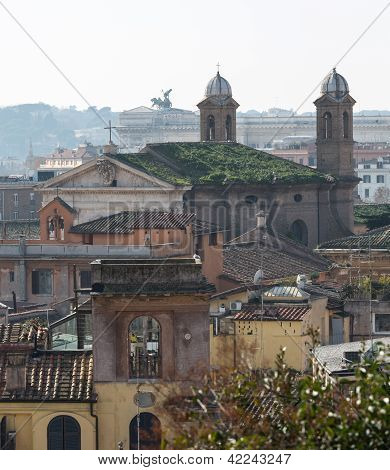 Skyline Of Rome Towards Altar Of The Fatherland