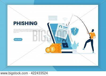 Mobile Phishing Attack Illustration Concept