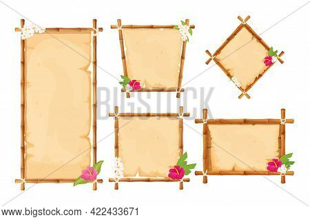 Set Hawaiian Bamboo Frames With Parchment And Tropical Flowers In Cartoon Style Isolated On White Ba