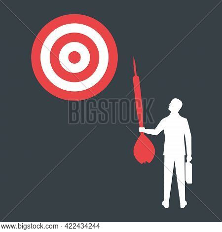 Achievement Of Goal. Purpose Business Concept. Purposeful Businessman With Spear In Hand Looks At Ta