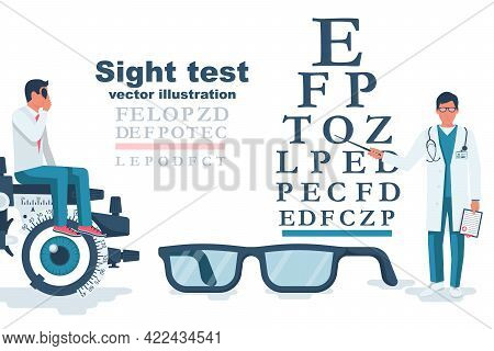 Young Man Visiting An Ophthalmologist. Sight Test. Diagnosis Of Vision. Eye Test Frame. Vision Test.