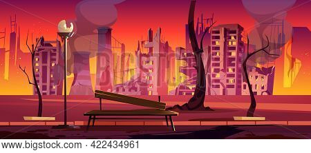 Destroyed City Park, War Zone, Abandoned Urban Garden With Burnt Bench, Trees And Buildings. Destruc