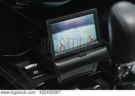 Novosibirsk, Russia - May 29, 2021: Nissan X-trail, Reverse Camera With Monitor,buttons - Details An