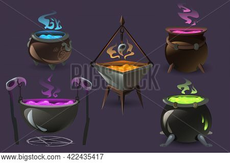 Witch Cauldrons With Boiling Magic Potions. Old Cooking Boilers With Colored Brew And Steam. Vector