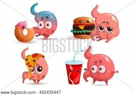 Sad Stomach Character With Fast Food. Human Gastric Bloating, Indigestion And Stomachache. Vector Se