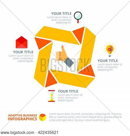 Cycle Chart With Four Options. Process Chart, Option Diagram, Template. Creative Concept For Infogra