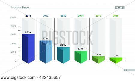 Six Columns Bar Chart Slide Template. Business Data. Percent, Declining, Design. Creative Concept Fo