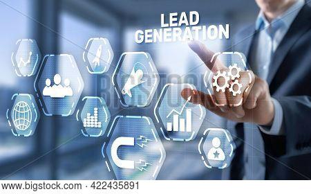 Businessman Presses Finger On The Virtual Screen Lead Generation
