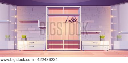 Empty Walk-in Closet, Modern Wardrobe Room Interior With Hangers, Shelves And Drawers On Wall Decora