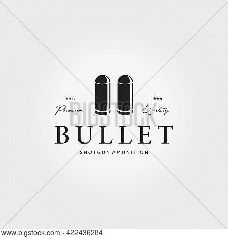 Bullet Logo Icon Vintage Vector Illustration Design Ammo Ammunition