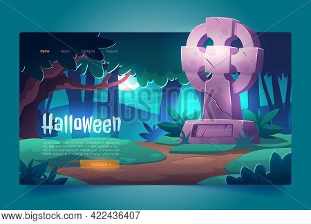 Halloween Cartoon Landing Page, Night Cemetery, Old Graveyard With Tombstone In Midnight Forest, Cra