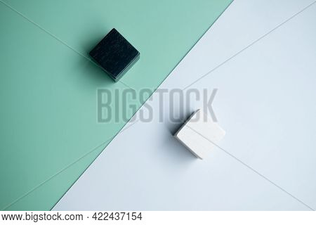 Wooden Cube White Placed Opposite Side Wooden Cube Black. The Concept Of Opposite