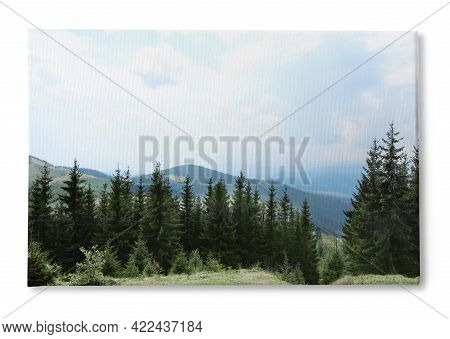 Photo Printed On Canvas, White Background. Beautiful Landscape With Forest And Mountain Slopes