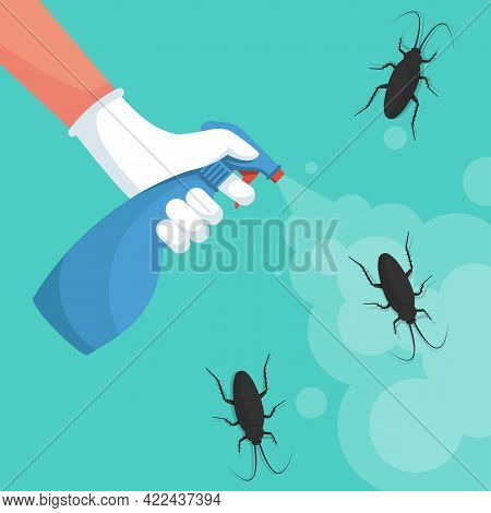 Pest Control Banner Concept. Man Exterminator Holds A Sprayer In Hands Spraying Pesticide. Destructi