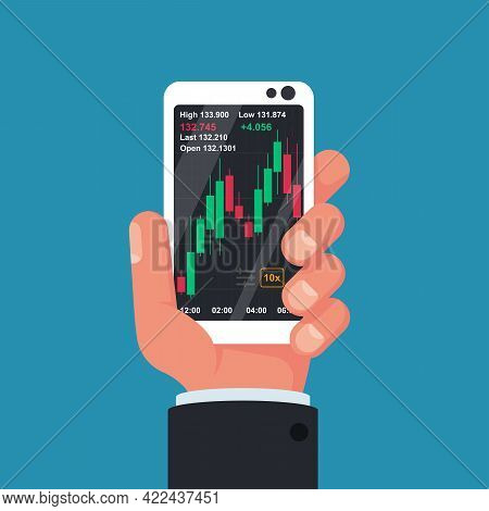 Phone Screen With Financial Trading Graph. Trades On Financial Stock Exchange. Tradings Concept. Sto