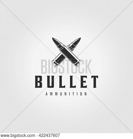 Letter X Bullet Ammo Logo Ammunition Vintage Vector Illustration Design